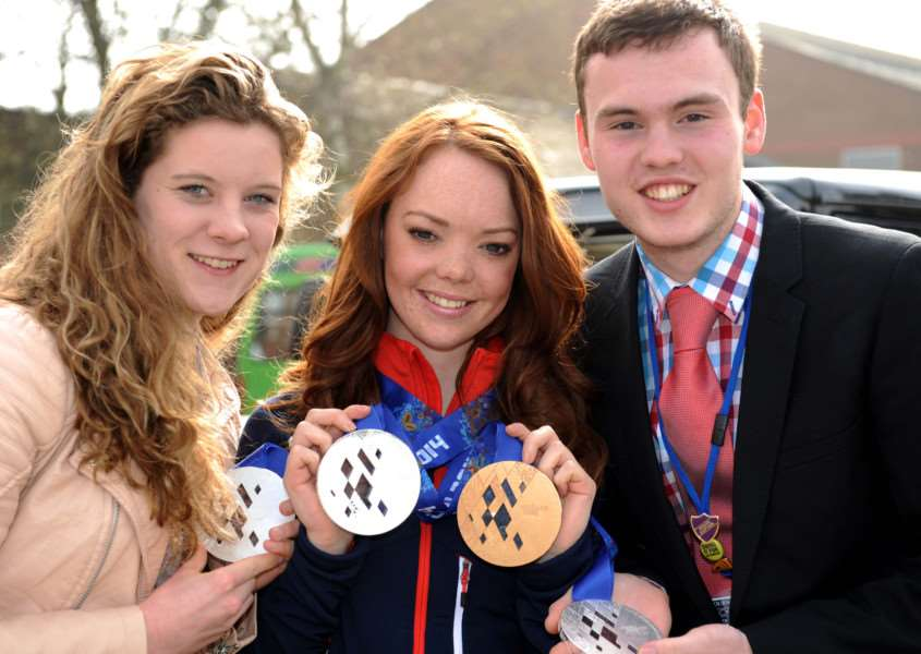 Jade Etherington at Bourne Academy with Kayleigh Adams and head boy Jack Spires EMN-140104-122943001