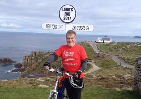 Stuart Morgan at Land's End after completing his charity cycle. Submitted.