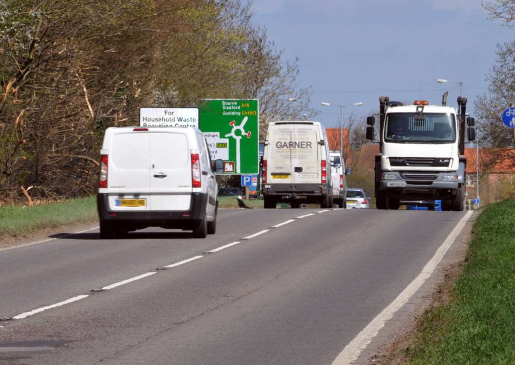 The A15 south of Bourne where two cars collided on April 13.