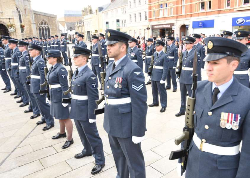 RAF Wittering servicemen and women in Cathedral Square
