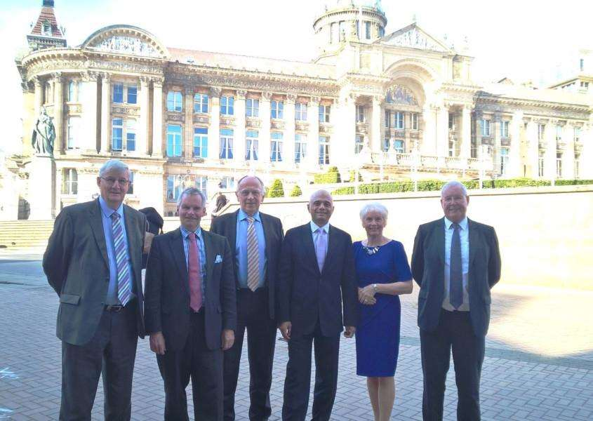 DEVOLUTION NO DEAL: Lincolnshire County Council Leader Martin Hill (second left) with Communities and Local Government Secretary Sajid Javid (third right) and other council leaders from Greater Lincolnshire at a meeting in Birmingham to discuss plans for a combined authority.