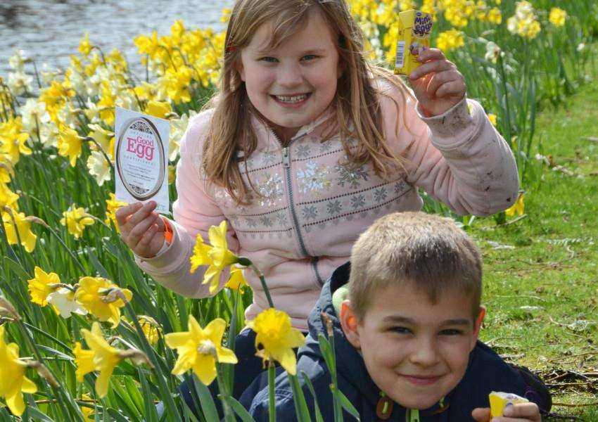 Bourne Wellhead easter egg hunt with Alex Hopkins (6) and Ella Bowers (8) EMN-150404-105404009