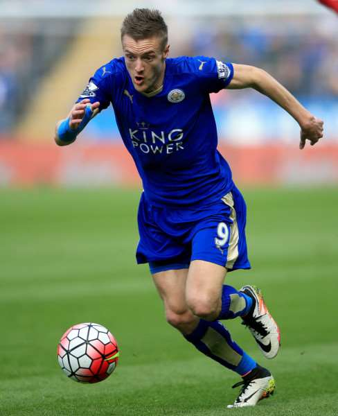 File photo dated 03-04-2016 of Leicester City's Jamie Vardy. PRESS ASSOCIATION Photo. Issue date: Wednesday April 13, 2016. Jamie Vardy, Riyad Mahrez and N'Golo Kante have all been recognised for their role in Leicester's Barclays Premier League title charge by being named on the shortlist for the PFA Players' Player of the Year. See PA story SOCCER PFA. Photo credit should read Nick Potts/PA Wire. EMN-160415-143013002
