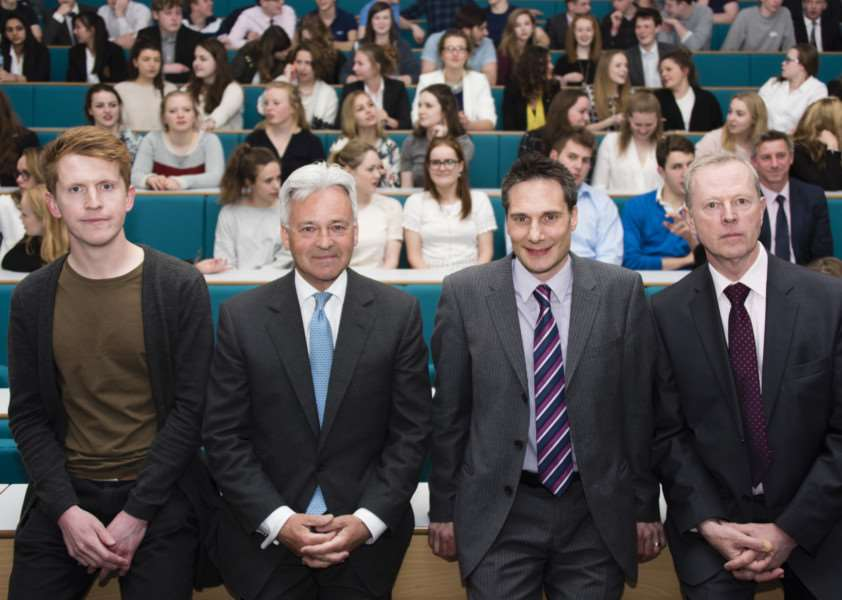 The hustings event at Oakham School on Tuesday, April 21. Pictured are Alastair McQuillan (green), Sir Alan Duncan (Con), Ed Reynolds (Lib Dem) and Richard Billington (UKIP). Photo: Elli Dean.