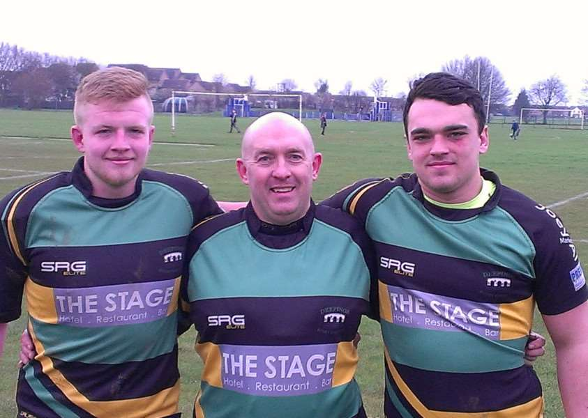 Clayton Bell (right, 18) who made his first start for Deepings 1st XVs on Saturday alongside dad Clint and older brother Charlie (21).