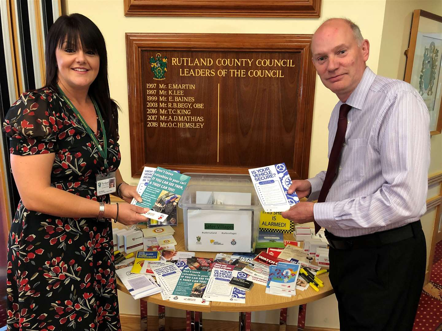 Coun Alan Walters and Rutland County Council community safety officer Julia Thomas with one of the new Safer Villages boxes