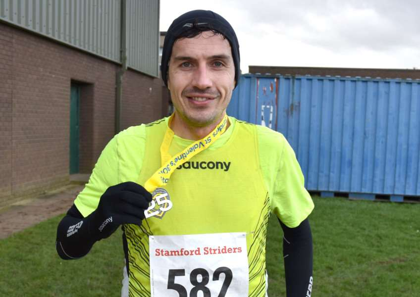 Aaron Scott after his fifth successive victory in the Stamford Striders St Valentine's 30k race on Sunday. Photo: LEE HELLWING