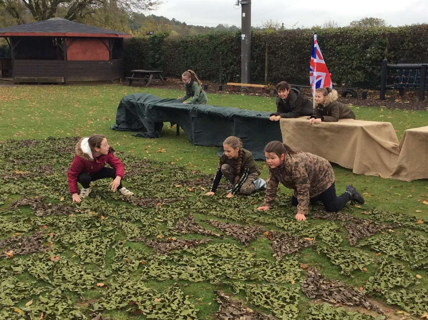 Pupils at Bythams Primary transformed their school playing field for WW1 day. (5600670)