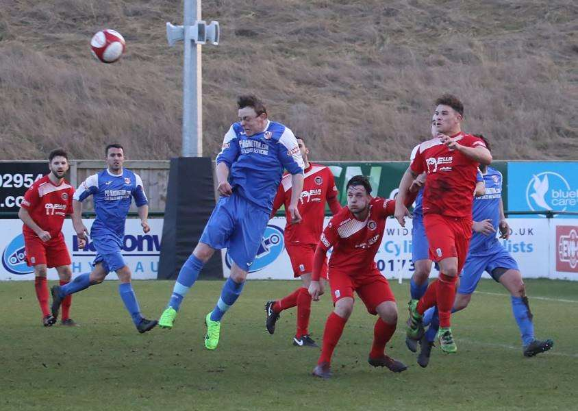 Action from Stamford AFC v Market Drayton Town. Photo: Geoff Atton