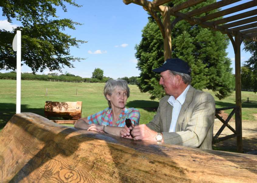 Land Rover Burghley Horse Trials event director Elizabeth Inman talks to course deisgner captain Mark Phillips ahead of the 2015 event. EMN-151208-141858001