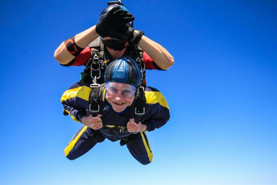 Graham Creedy completed a skydive in aid of the Sue Ryder, Thorpe Hall Hospice. By Lee Hellwing.