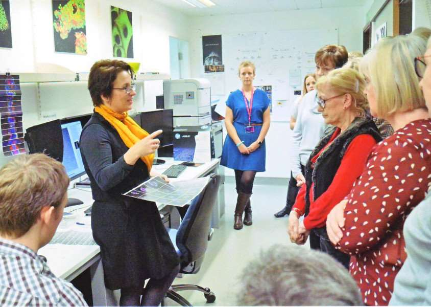 Members of the Burghley and Peterborough Ladies club visit the Cambridge Cancer Centre, which they have raised hundreds of thousands of pounds for. EMN-160114-094228001