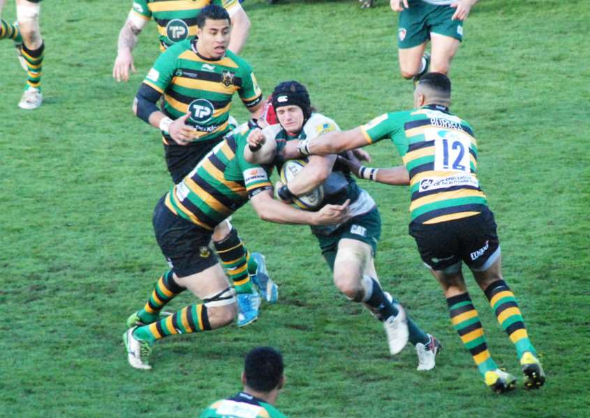 Action from Northampton Saints against Leicester Tigers. Photo: John Evely EMN-160419-100335001