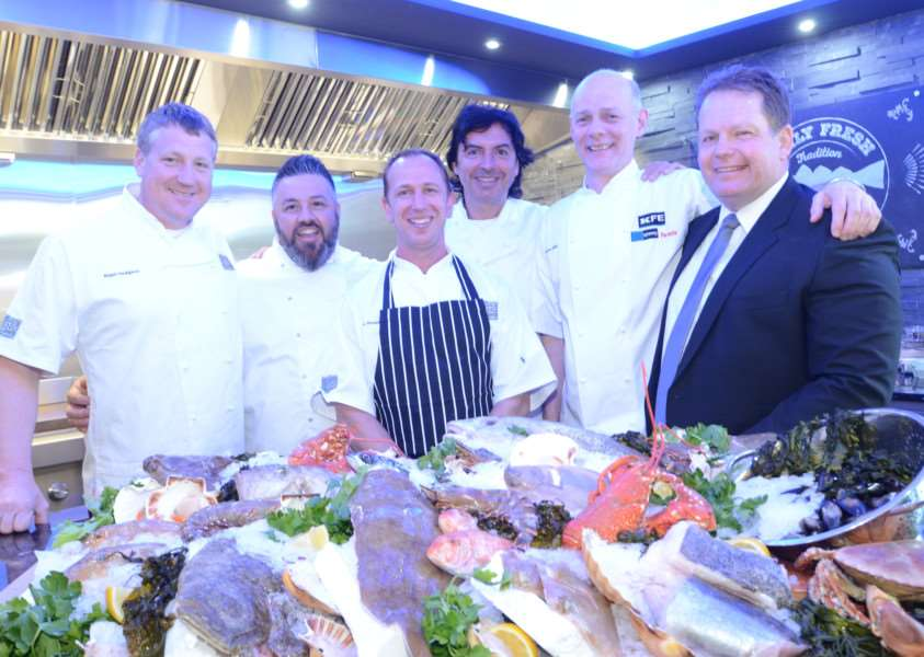 Chefs Nigel Hodgson, Mark Petrou, Gary Rosser, guest chef Jean-Christophe Novelli, Gordon Hillan and MD Paul Williams at opening of a new grilling area at KFE Market Deeping EMN-160420-163355009