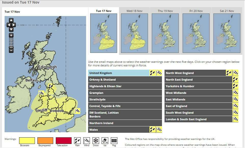 Met Office issue weather warning for high winds today and tomorrow