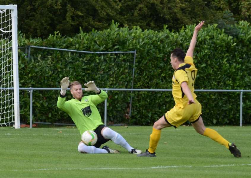 KEEPING THEM OUT: Alex Brown had a clean sheet as Bourne beat Raunds at Abbey Lawn last September.