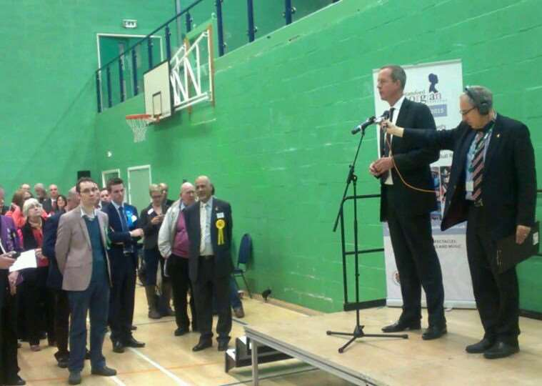 Nick Boles gives his speech after being declared MP for Grantham and Stamford.