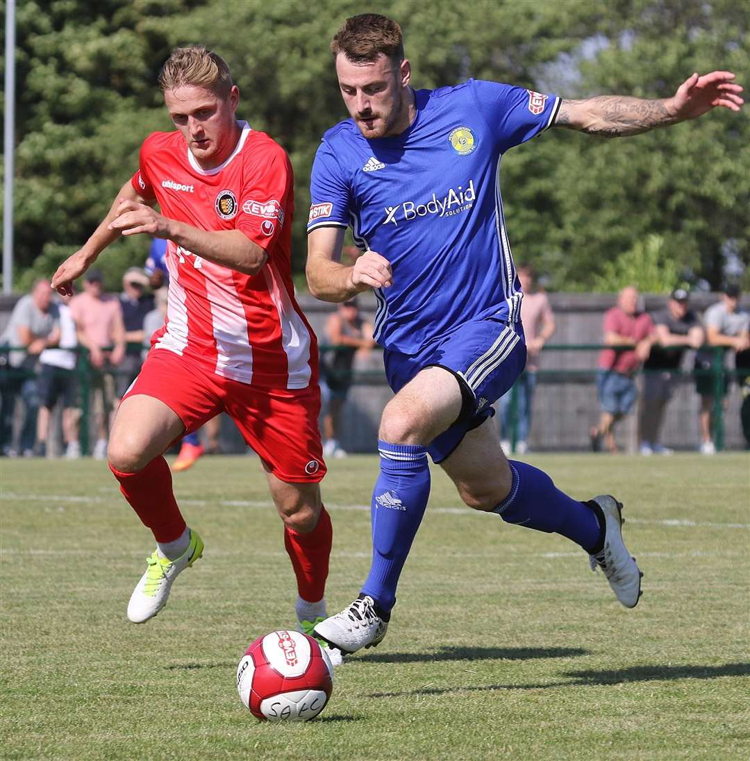 Jake Duffy chases ex-Daniel Josh Moreman during last season's clash with Peterborough Sports. (3770492)