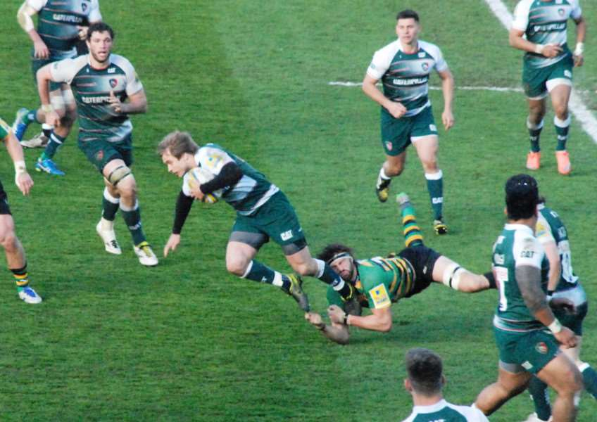 Action from Northampton Saints against Leicester Tigers. Photo: John Evely EMN-160419-100250001