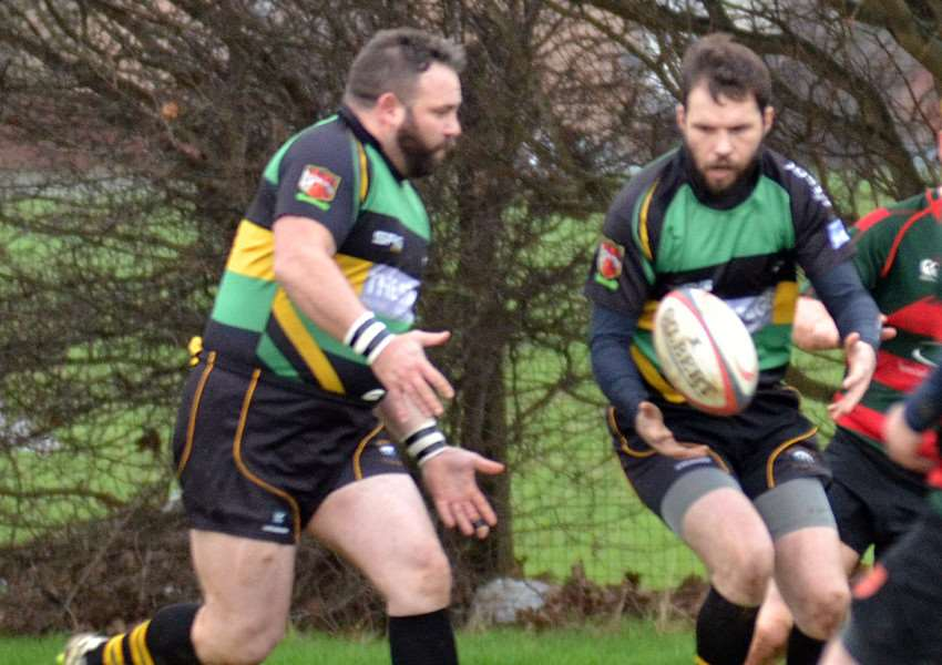 BROKEN SEQUENCE: Gareth Silverwood (left) and Guy Cunningham were two of the try scorers for Deepings in their 30-22 defeat at Bedford Swifts. Photo by Tim Wilson.