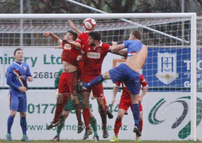 Action from Stamford AFC v Whitby Town. Photo: Geoff Atton EMN-160127-132536001