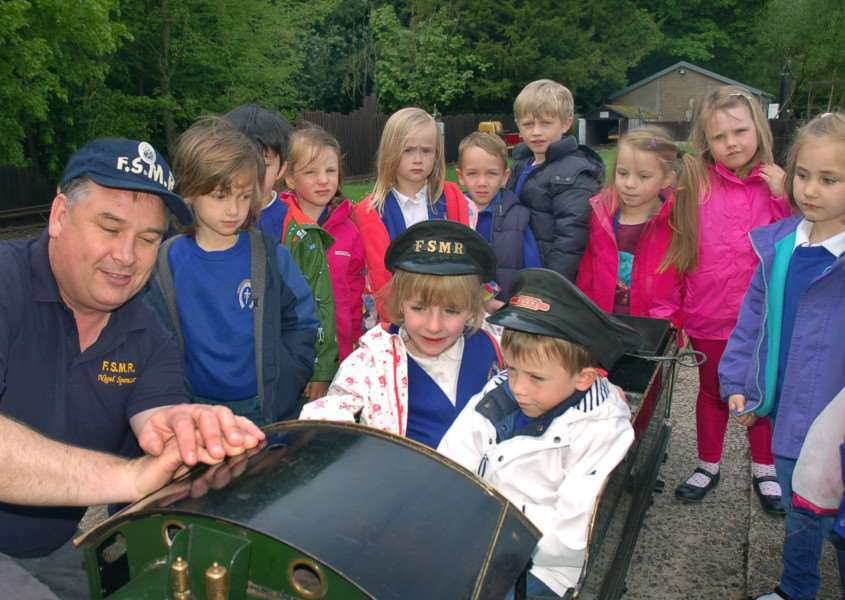 Whissendine pupils learn about steam engines from Stapleford miniture railway volunteer Nigel Spencer. PHOTO: Tim Williams