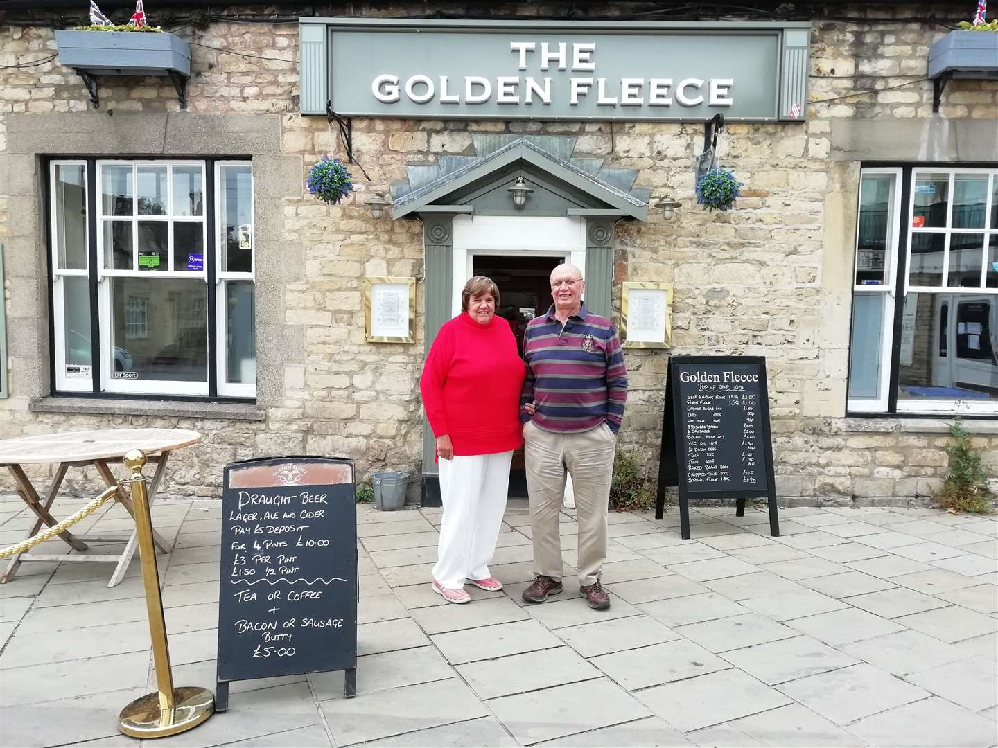 Mick and Teresa Purvis, landlords of The Golden Fleece pub in Stamford