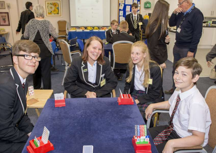 Youngsters enjoy playing bridge in the competition