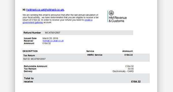 The HMRC email