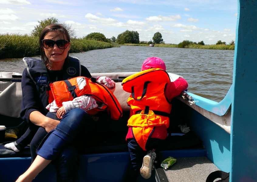 Donna Steele and children Jasmine and Sasha on the day boat at Potter Heigham.