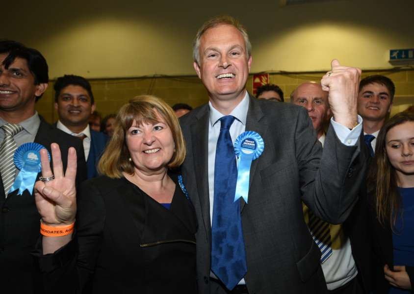 Tory Stewart Jackson and wife Sarah celebrate with supporters after winning the Peterborough seat.