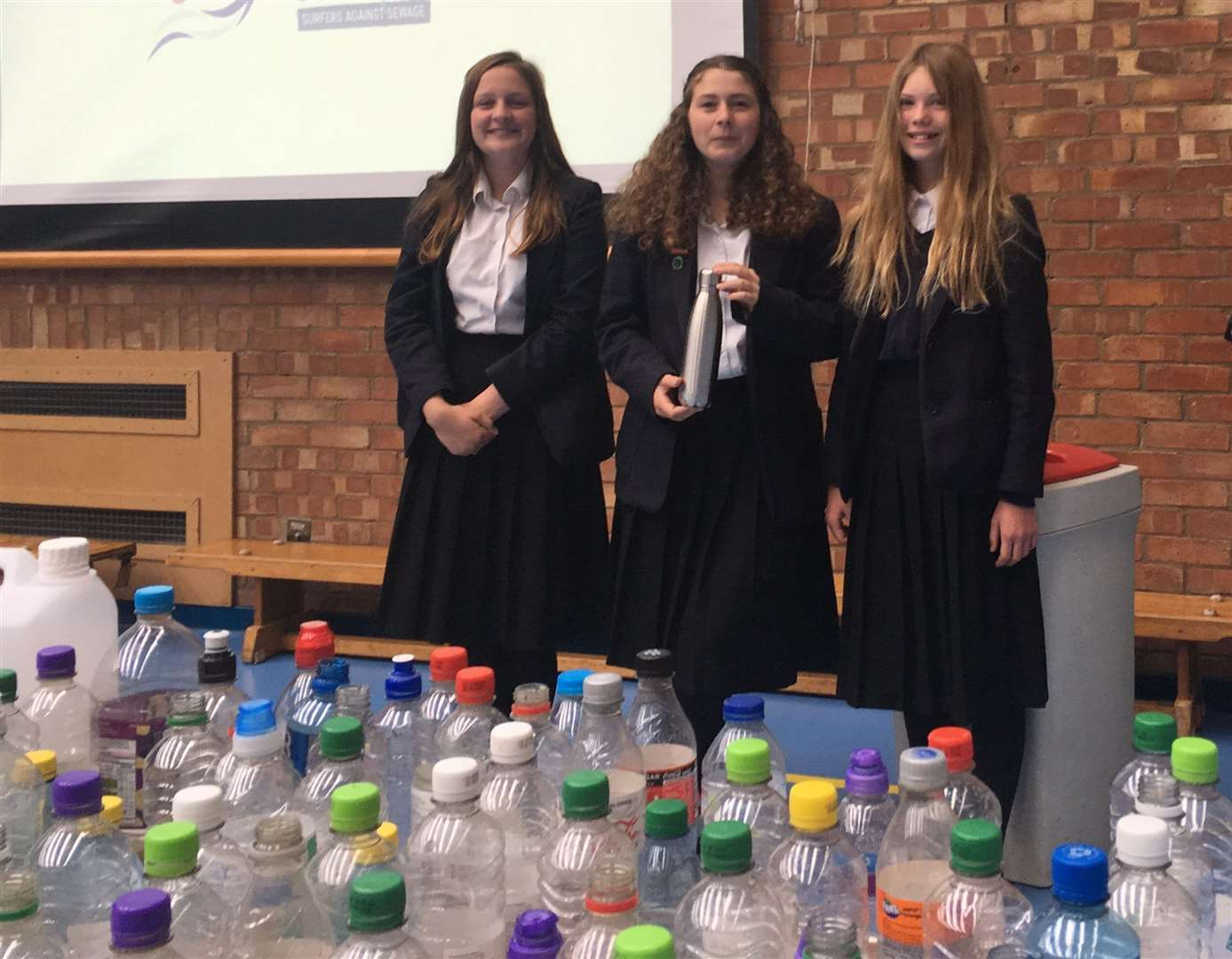 Year 8 environmental campaigners Anna Tring, Jocelyn Diaz and Hope Rowlett