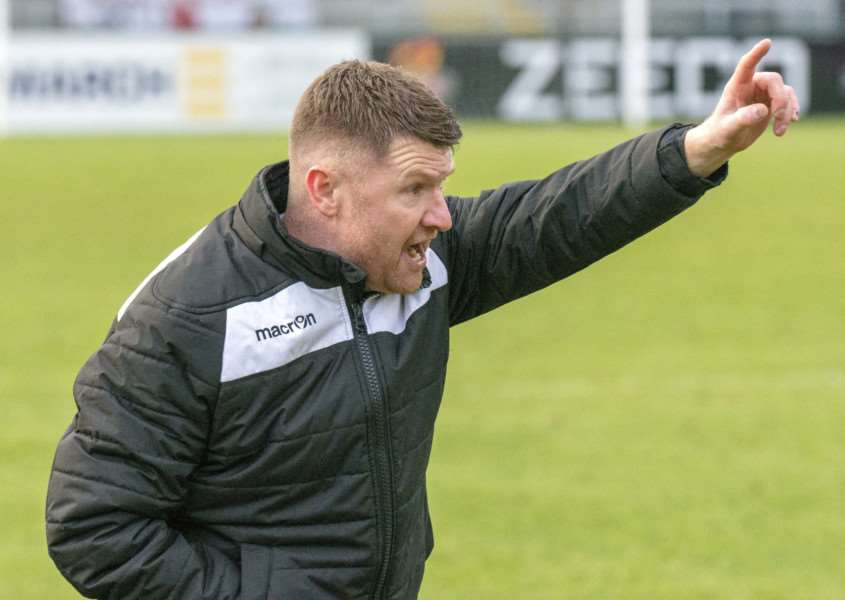 Making a point: Stamford boss Graham Drury whose side drew 0-0 with Alvechurch on Saturday. Photo: Lee HELLWING