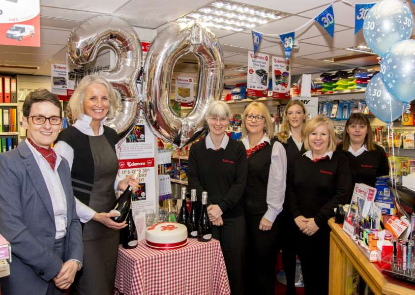 Staff at the Stamford branch of Colemans celebrating the store's 30th birthday