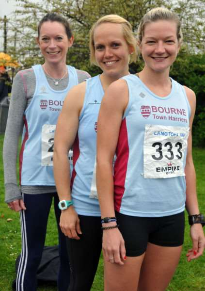 Langtoft 3k and 10k road runs'10k runners ready for off - Bourn Town Harriers Suzie Brownlow, Gemma Mempstead and Claire Steels ANL-150305-170036001