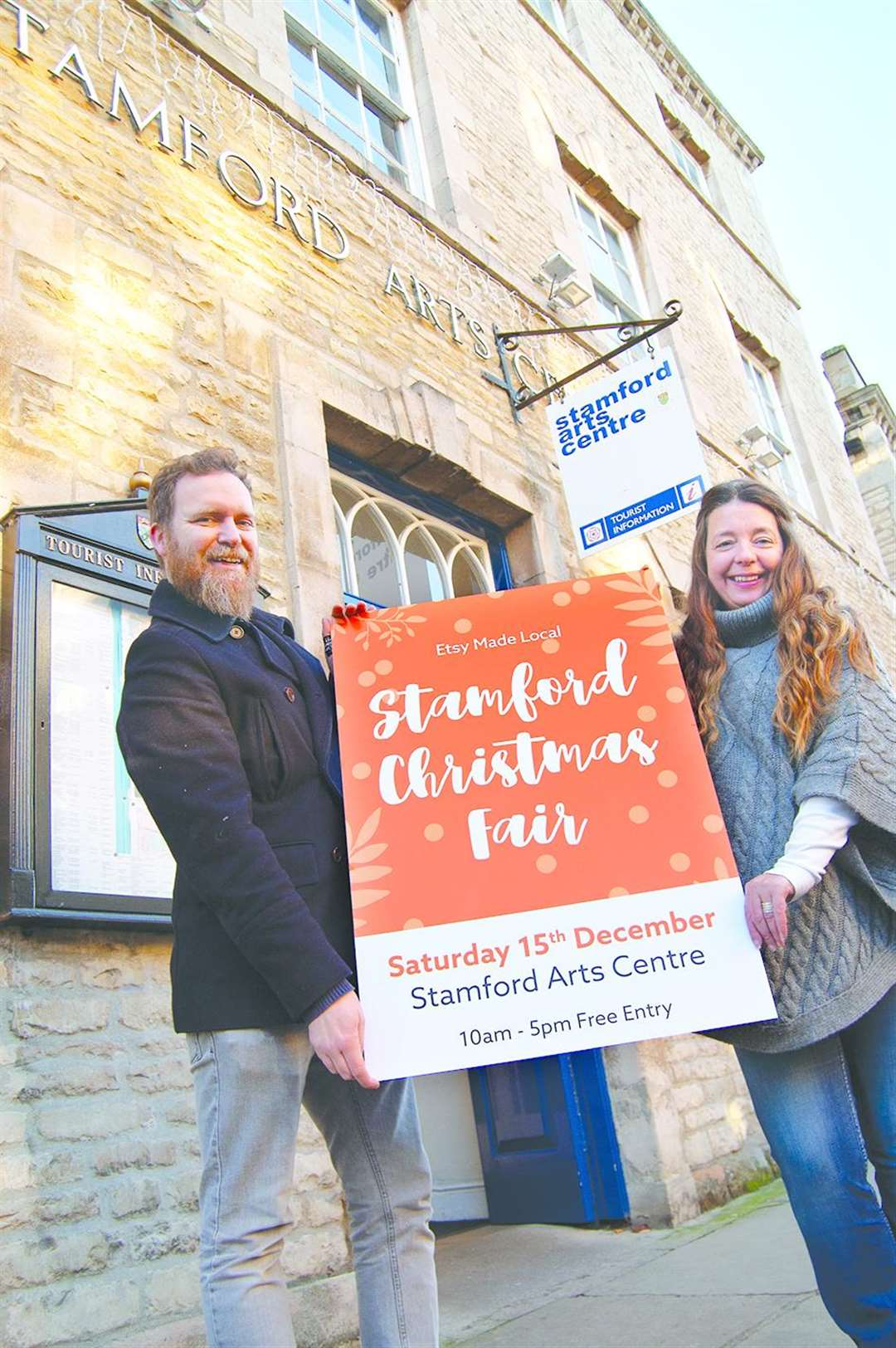 Jack Thorpe and Rachel Parkin promote the first Etsy Made Local fair in Stamford