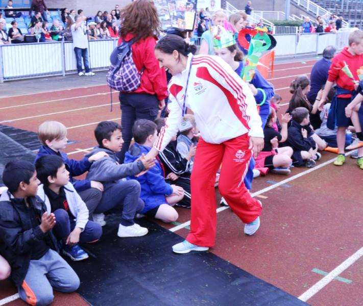 Olympian Elizabeth Cann was among the stars to welcome children at South Kesteven Sports Stadium in Grantham for the Mini Olympics.