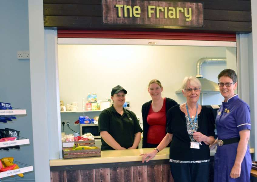 Matron Sue Brooks, right, with Stamford Hospital volunteer Janet Garner, and ISS staff Sarah Gibbons and Jane Podzuns at the revamped Friary Coffee Shop at Stamford Hospital EMN-160902-102048001