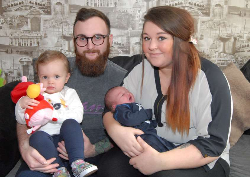 New Year's Day baby - Dad Christian Spires, mum Maisie James, sister Darcey, two, and baby Reggie