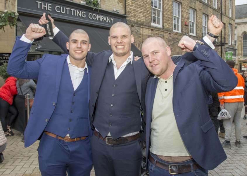 James Willis with his half brothers Zac and Marcus at the headshave