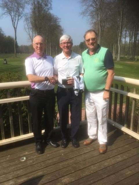 Captain Duncan Cameron and Richard Shuttlewood presenting the individual trophy at Forest Pines to Paul Shaw. (9465128)