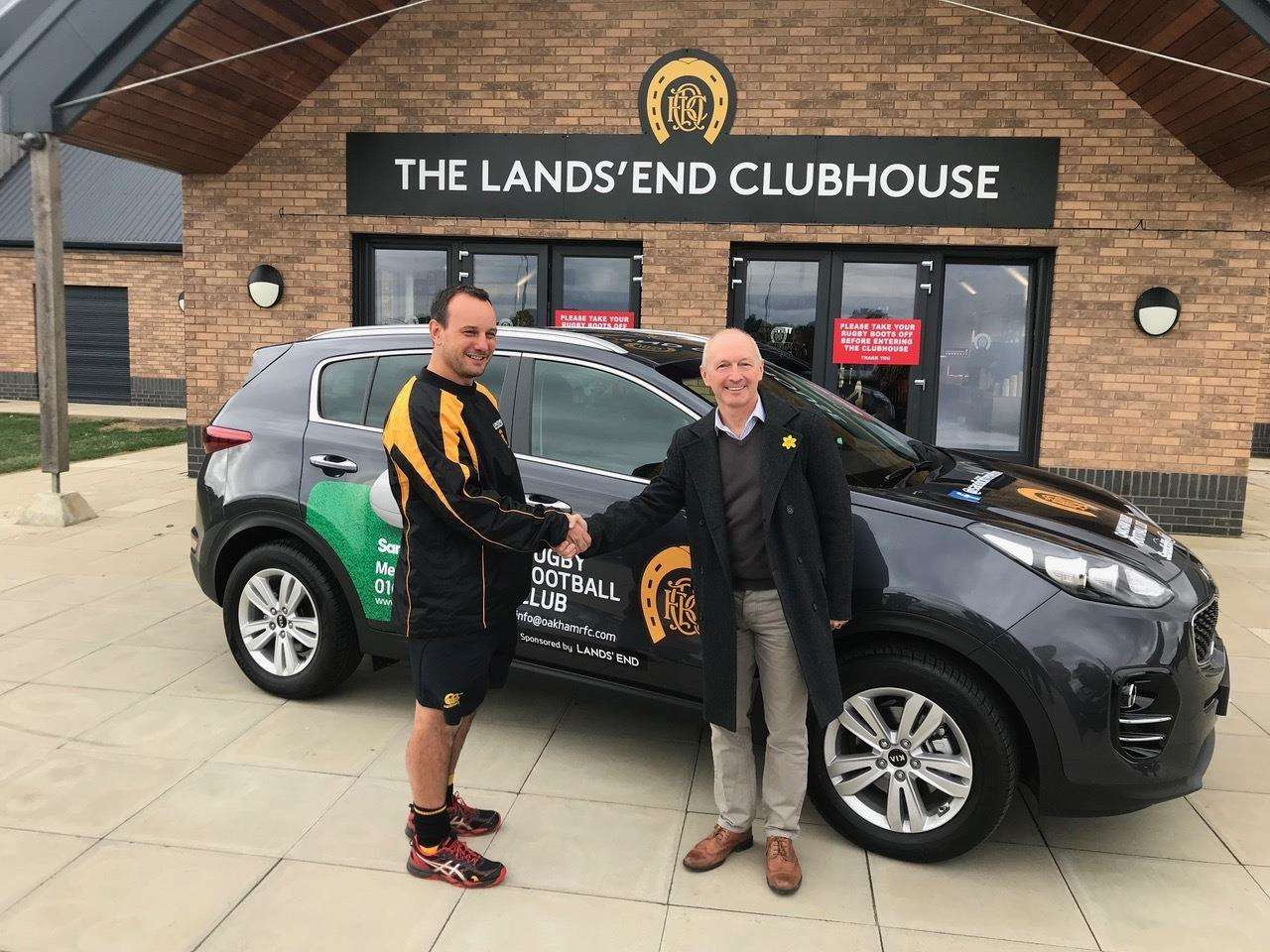 New Oakham coach Alun Meadows receives a new sponsored car for the season courtesy of Sandicliffe of Melton Mowbray. (4091309)