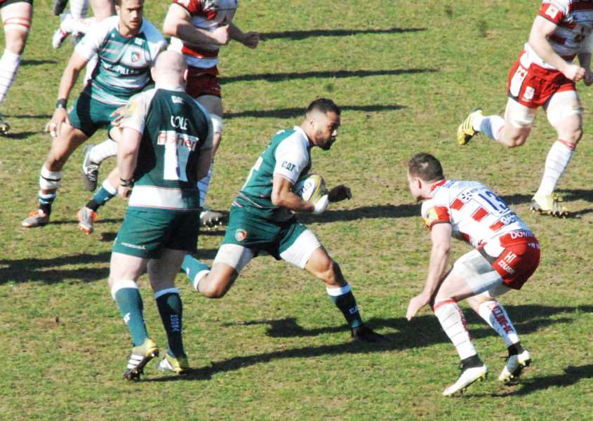 Action from Leicester Tigers against Gloucester, Telusa Veainu. Photo: John Evely EMN-160404-154443001