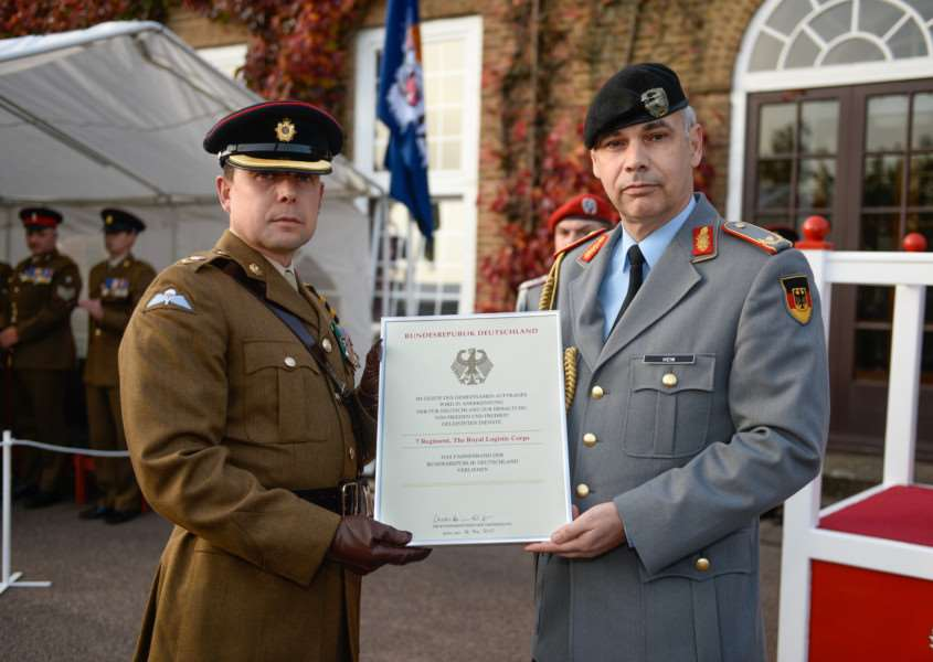 The prestigious honour of the Fahnenband has been awarded to 7 Regiment RLC in recognition of its 52 years distinguished service in Germany.'Photos: Cpl Jamie Dudding EMN-151021-161031001