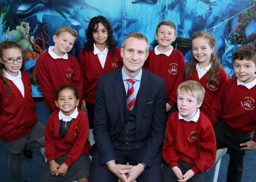 Head teacher Mark Ratchford and pupils at Market Deeping Community Primary School which is set for expansion next September. Photo supplied.