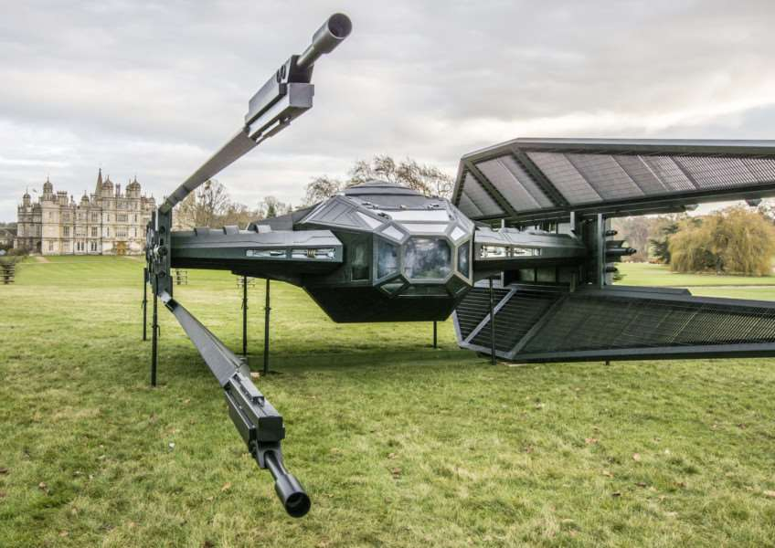 Colin Furze's TIE Silencer on display in Burghley Park. By Lee Hellwing.