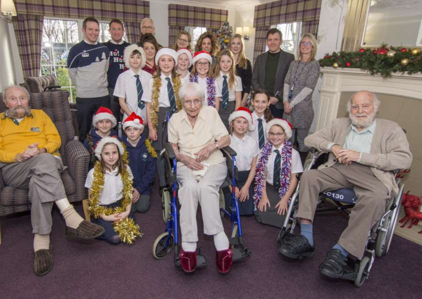 Malcolm Sargent School pupils performed Christmas carols at Priory Court Care Home in Stamford. Photo: Lee Hellwing.