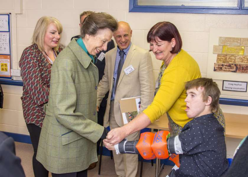 Princess Anne at the Sense Bourne Resource Centre. By Lee Hellwing.