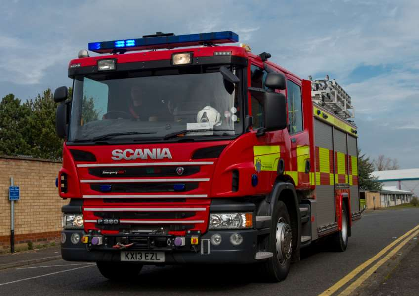 Firecrews are fighting a lorry fire on the A1 near Stamford