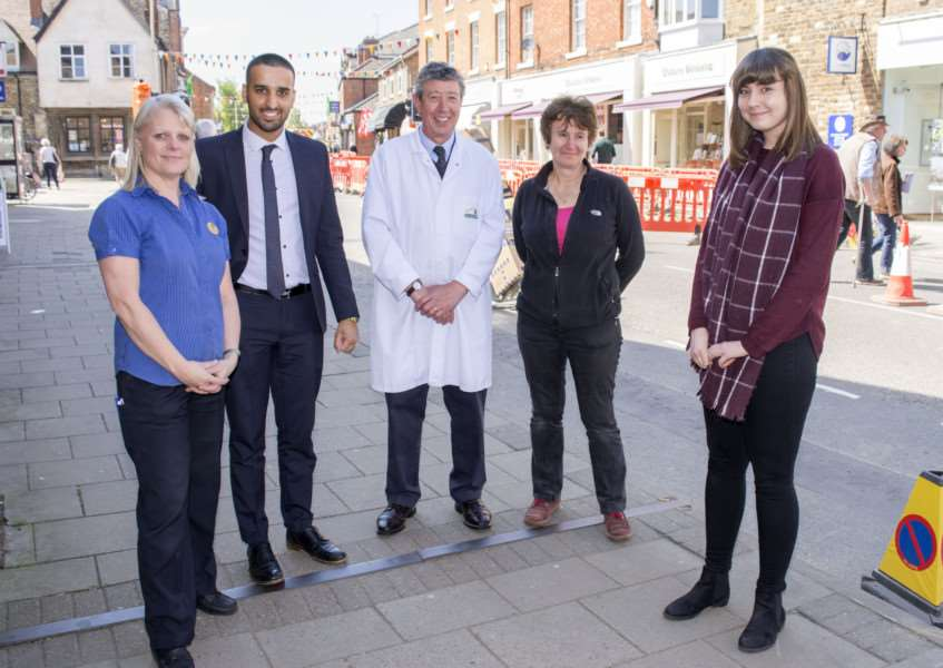 Traders who are angy about the roadworks on Oakham High Street. By Lee Hellwing.